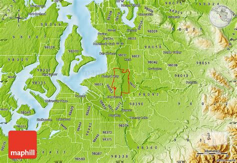 a physical map of washington physical map of zip code 98001
