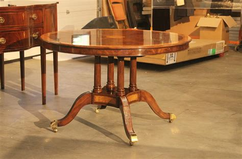 48 Inch Round To Oval Walnut And Yew Banded Dining Table 48 Dining Table With Leaf