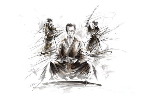 samurai meditation painting by mariusz szmerdt