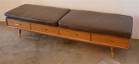 leather bench cushions mid century bench with drawers and leather cushions for