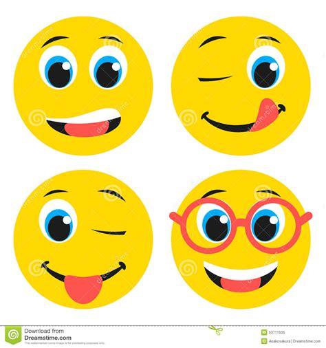 Flat Smile set of basic boy emoticons in flat design stock vector