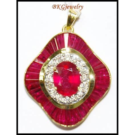 ruby gemstone pendant 18k yellow gold p0137