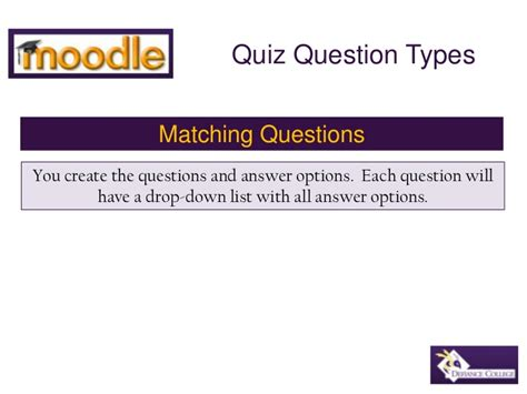 quiz questions with options moodle matching quiz question