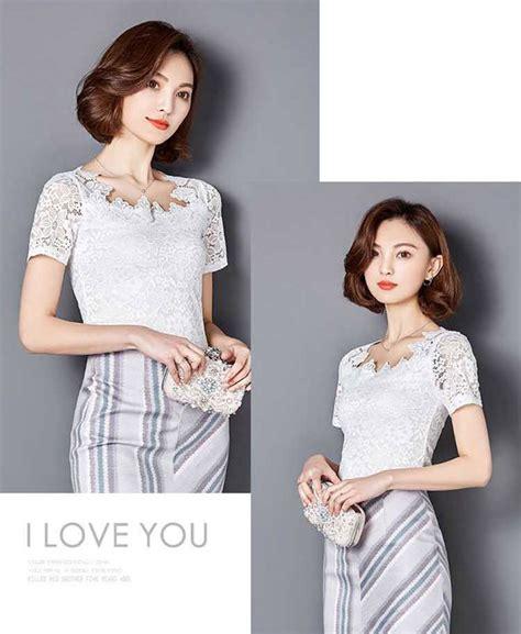 Dress Korea Brukat Putih Import 100 No Replika model blus brokat lengan pendek korea warna putih cm869