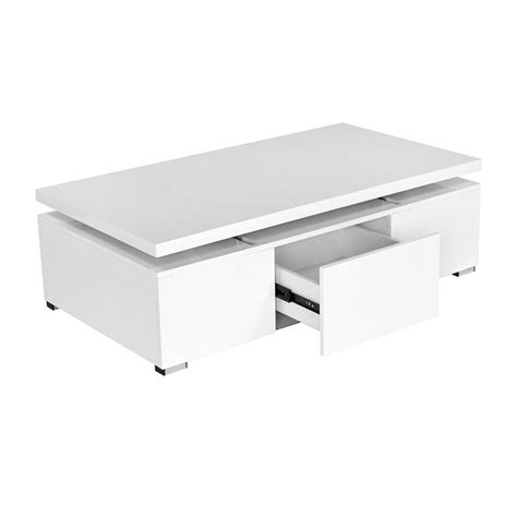 Meuble Tv De Coin 1357 by Deco In Table Basse Blanche Laquee A Plateau