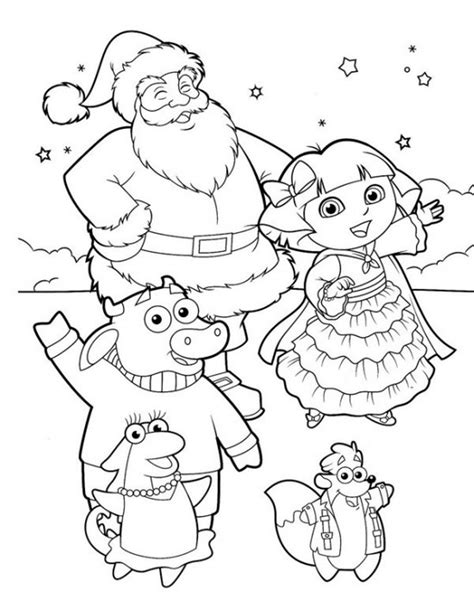 christmas coloring pages of dora the explorer dora the explorer coloring pages coloringsuite com