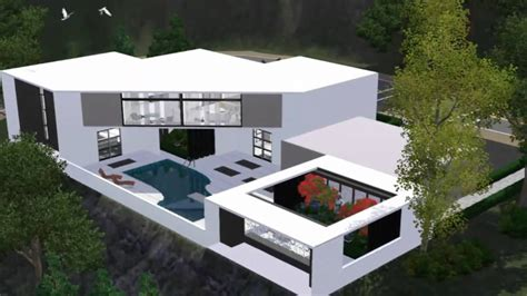 Modern House Floor Plans Sims 3 the sims 3 house modern scenic home hd youtube