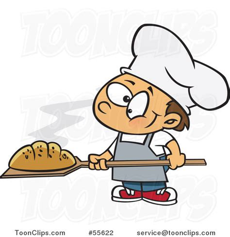 Cartoon Happy White Baker Boy With Fresh Bread 55622 By