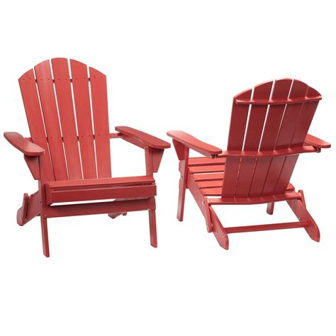 Chili Red Folding Outdoor Adirondack Chair (2 Pack) 2.1.1088RED The Home Depot
