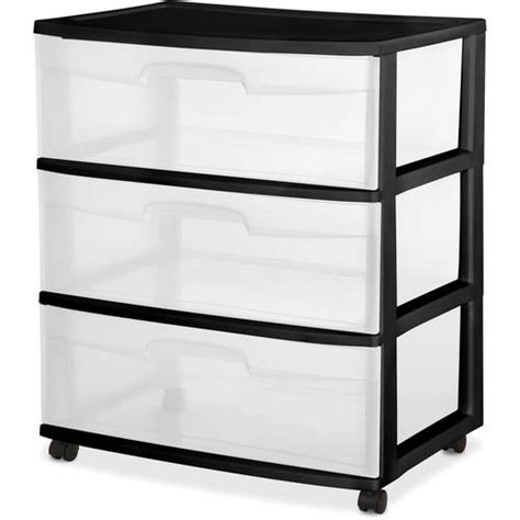 3 drawer plastic storage walmart sterilite 3 drawer wide cart black walmart