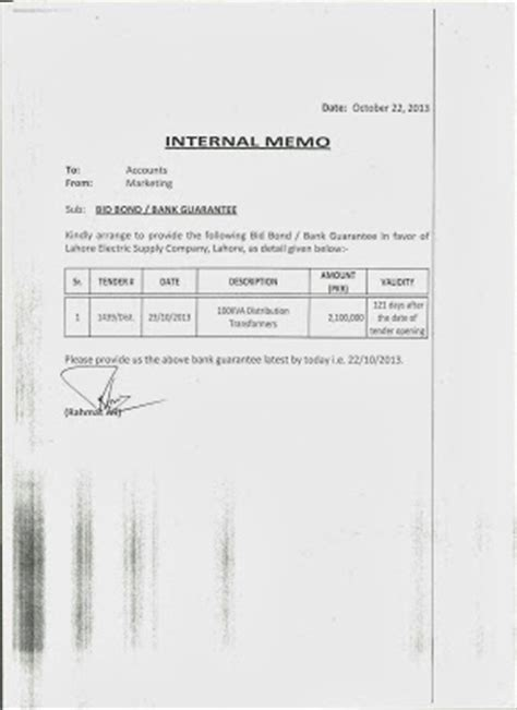 Official Guarantee Letter Memo Format Letter