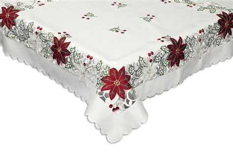 christmas red poinsettia tablecloth 54 x 90 inch oblong superb embroidery 10822 ebay