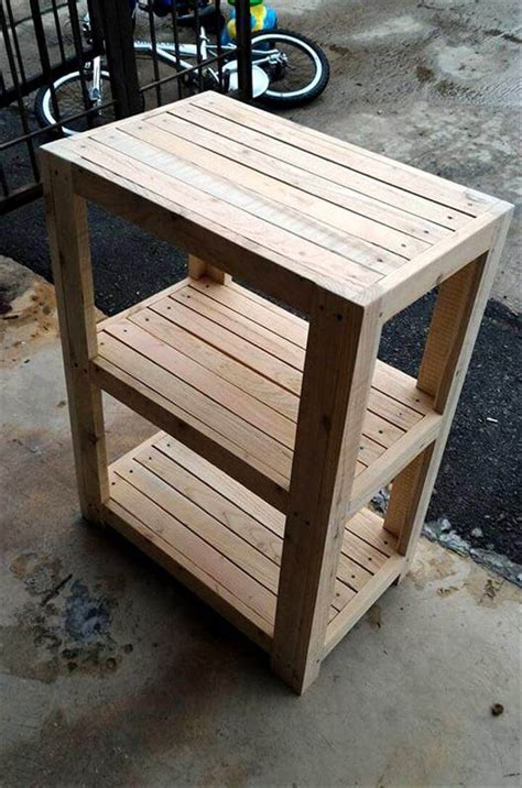 Handmade Pallet Furniture - rustic 3 tier pallet bedside table pallet furniture diy