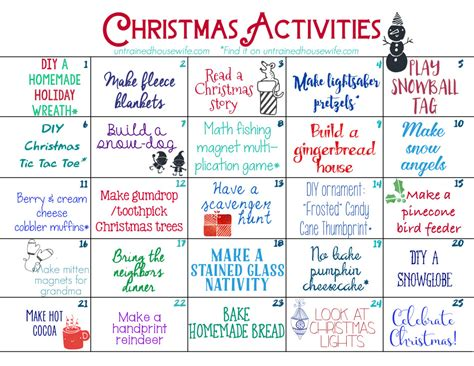 family activities advent calendar free printable