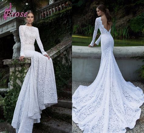 elegant slim fit mermaid gown white lace long sleeve