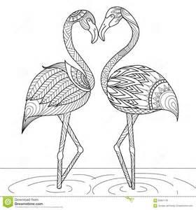 Coloring Book Tree Hand Drawn Flamingo Couple Zentangle Style Stock Vector