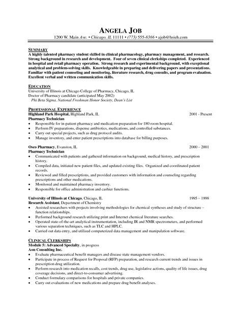 Hospital Pharmacy Technician Resume by Pharmacist Resume Sle Doc Sidemcicek