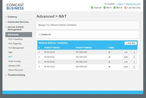nat forwarding firewall setting and forwarding with cisco dp