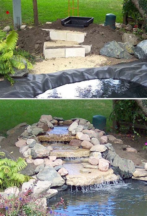 building a backyard waterfall diy garden waterfalls gardens backyards and diy waterfall