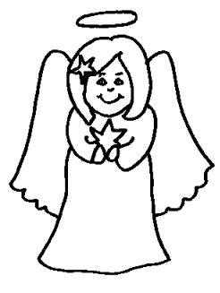 simple angel coloring page christmas working girl smiling