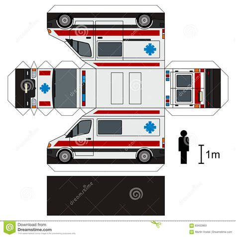 paper model of an ambulance stock vector illustration of