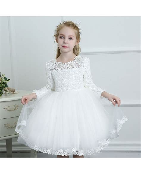 White Flower Dress Excellent Quality couture white lace sleeve flower dress wedding dress ballgown high quality tg7036