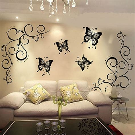 home decor vinyl wall art butterfly vine diy removable vinyl decal art mural wall