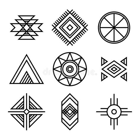 linear pattern of history native american indians tribal symbols stock vector