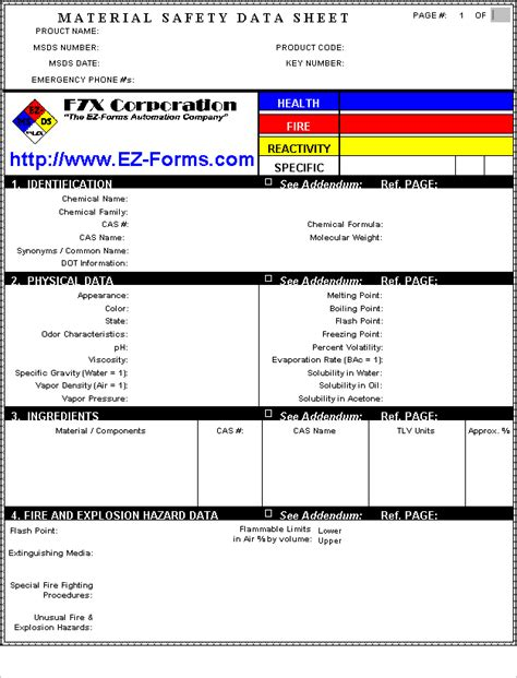 Material Safety Data Sheet Template Free by Ez Forms Msds V5 31 2004g Shareware Visual