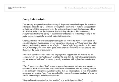 Greasy Lake Essay by Greasy Lake Analysis International Baccalaureate Languages Marked By Teachers