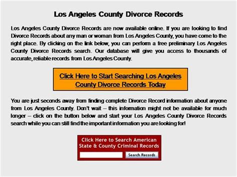 Will County Divorce Records Los Angeles County Divorce Records Authorstream