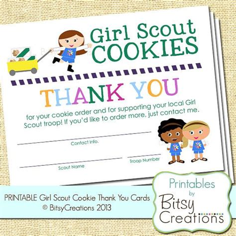 Scout Cookie Thank You Card Template scouts troop subway printable by