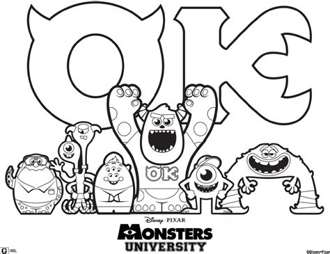 coloring pages monster university monsters university printables activities for kids and