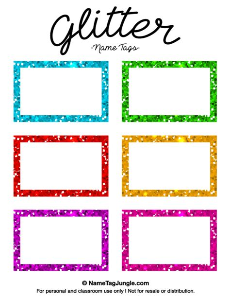 printable name tag templates printable glitter name tags
