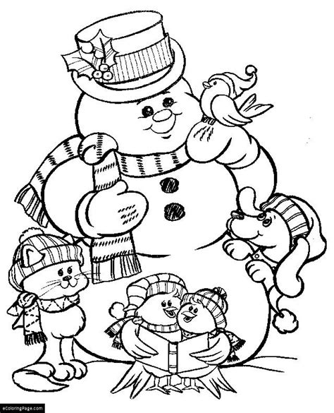 xmas cat dog birdies and frosty the snowman coloring
