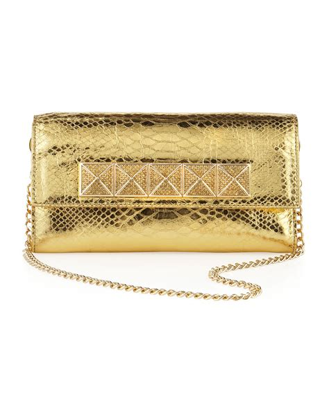 Clutch Python Embossed Gold michael michael kors antonia python embossed clutch bag in