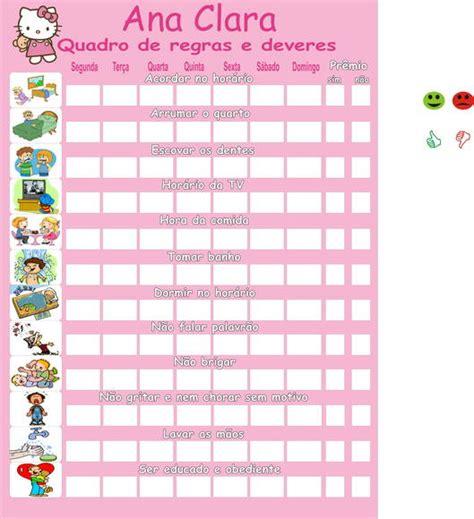 Año 0 Calendario Quadro De Regras Supernanny Pedacinho De Gente By
