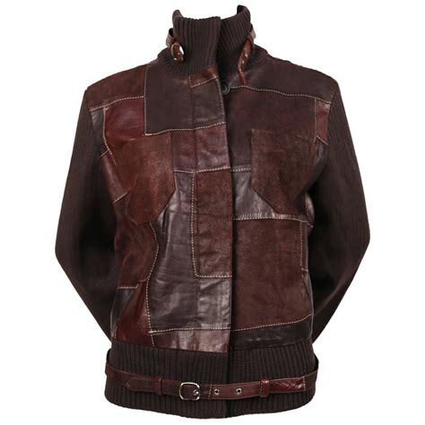 Patchwork Leather Coat - 1998 mqueen patchwork leather jacket for sale at
