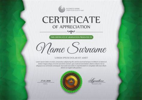 certificate design cdr format free download green certificate template and geometric shape vector 02