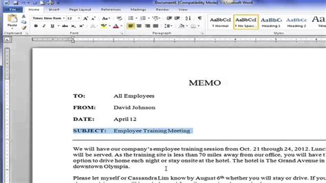 Business Letter Memorandum Style creating a block style business memo