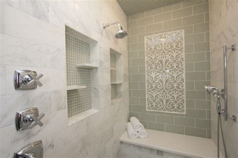niche in bathroom green subway tile backsplash contemporary bathroom