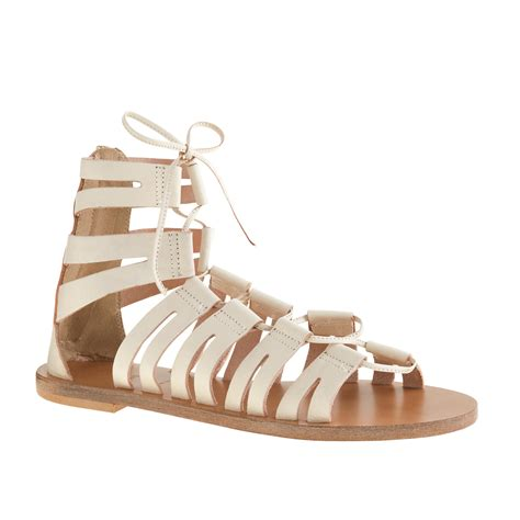 gladiator sandals lace up j crew lace up gladiator sandals in metallic lyst