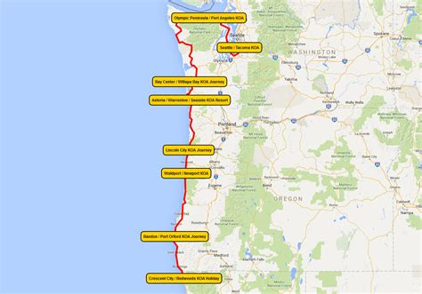 seattle koa map pacific coast vacation rv trips koa cing