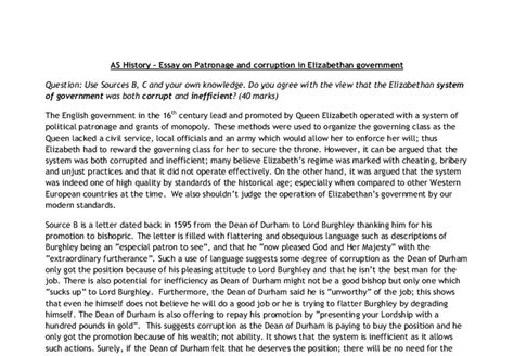 Government And Politics A Level Essays by As History Essay On Patronage And Corruption In Elizabethan Government A Level History