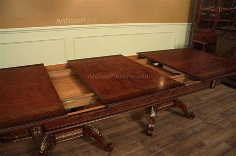 mahogany dining room table mahogany and walnut dining room table with self storing leaves gold trim detail