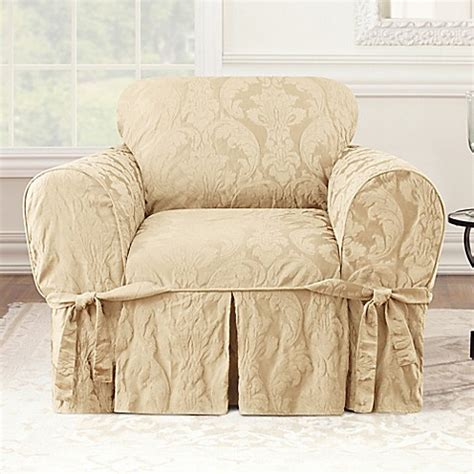damask slipcover buy sure fit 174 matelasse damask one piece chair slipcover