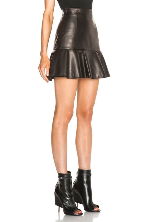 givenchy leather high waist ruffle mini skirt in black lyst