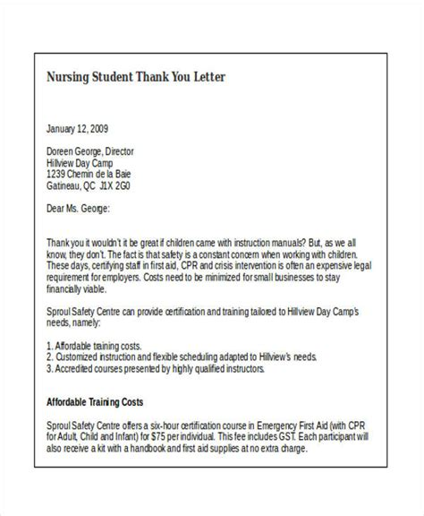 thank you letter after nursing student 69 thank you letter exles