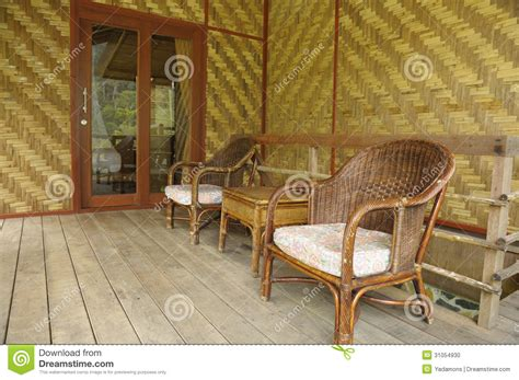bamboo and wicker chair living room stock photo image