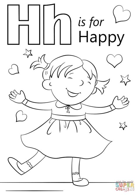 color for happy letter h is for happy coloring page free printable